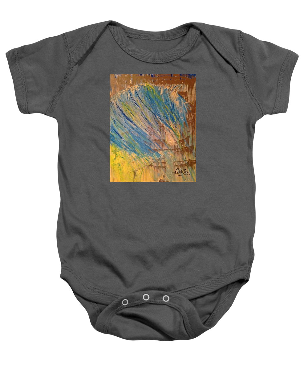 Horse; Horse In The Rain; Acrylic Paintings; Modern Art; Blue. Baby Onesie featuring the painting Blue Horse In The Rain by Irina Calota