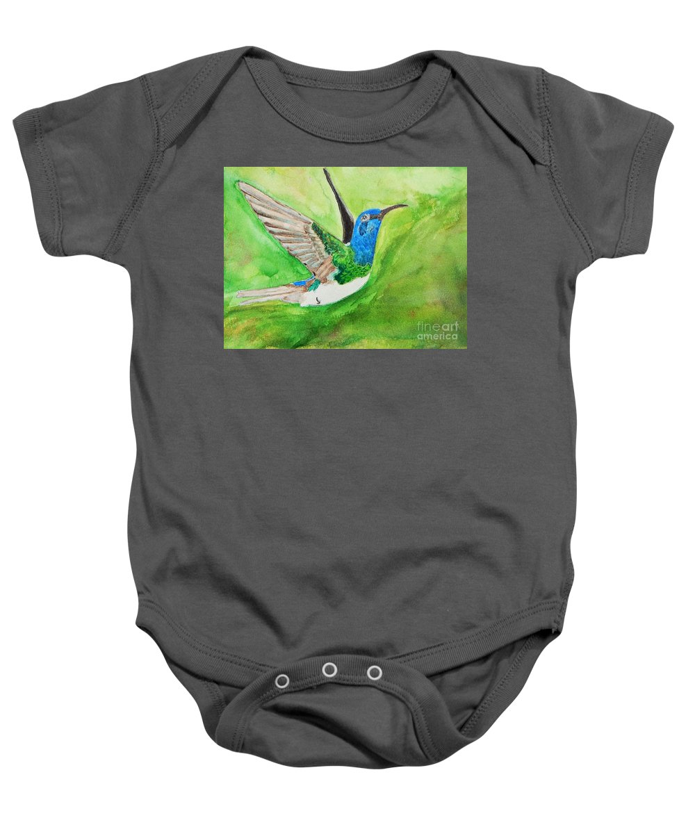 Humming Bird Baby Onesie featuring the painting Blue Humming Bird by Barbara King