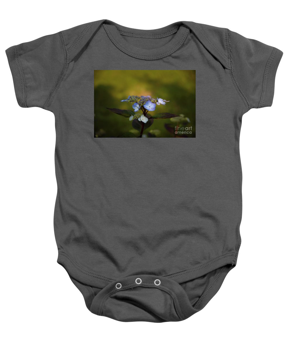 Blue Hydrangea Baby Onesie featuring the photograph Blue Hydrangea by Roger Porter