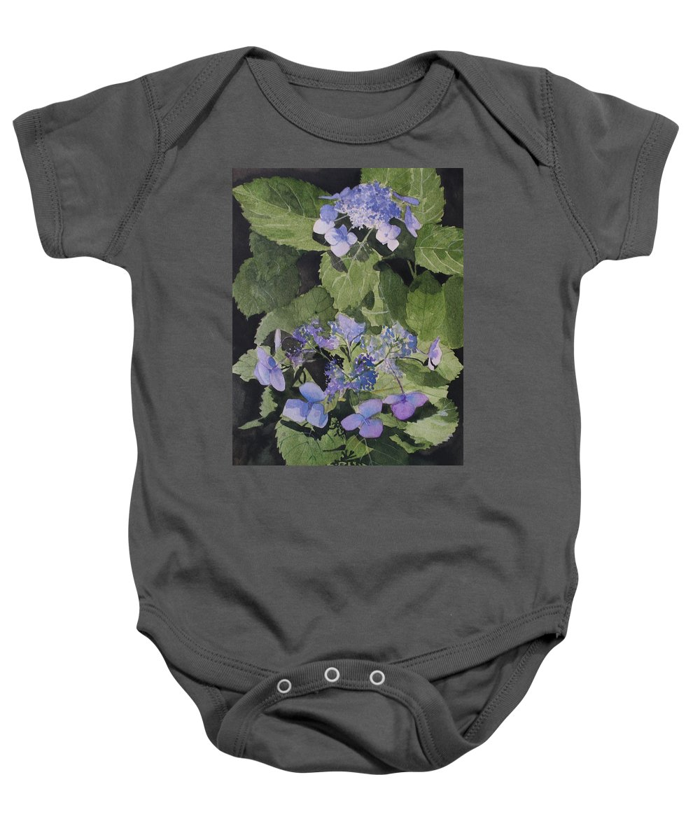 Flowers Baby Onesie featuring the painting Blue Lace by Jean Blackmer