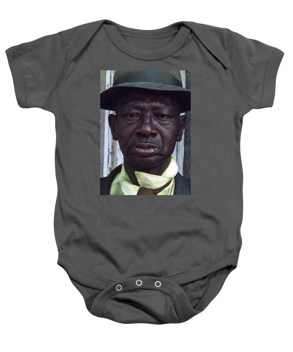 Portrait Baby Onesie featuring the photograph Blue by Lee Santa