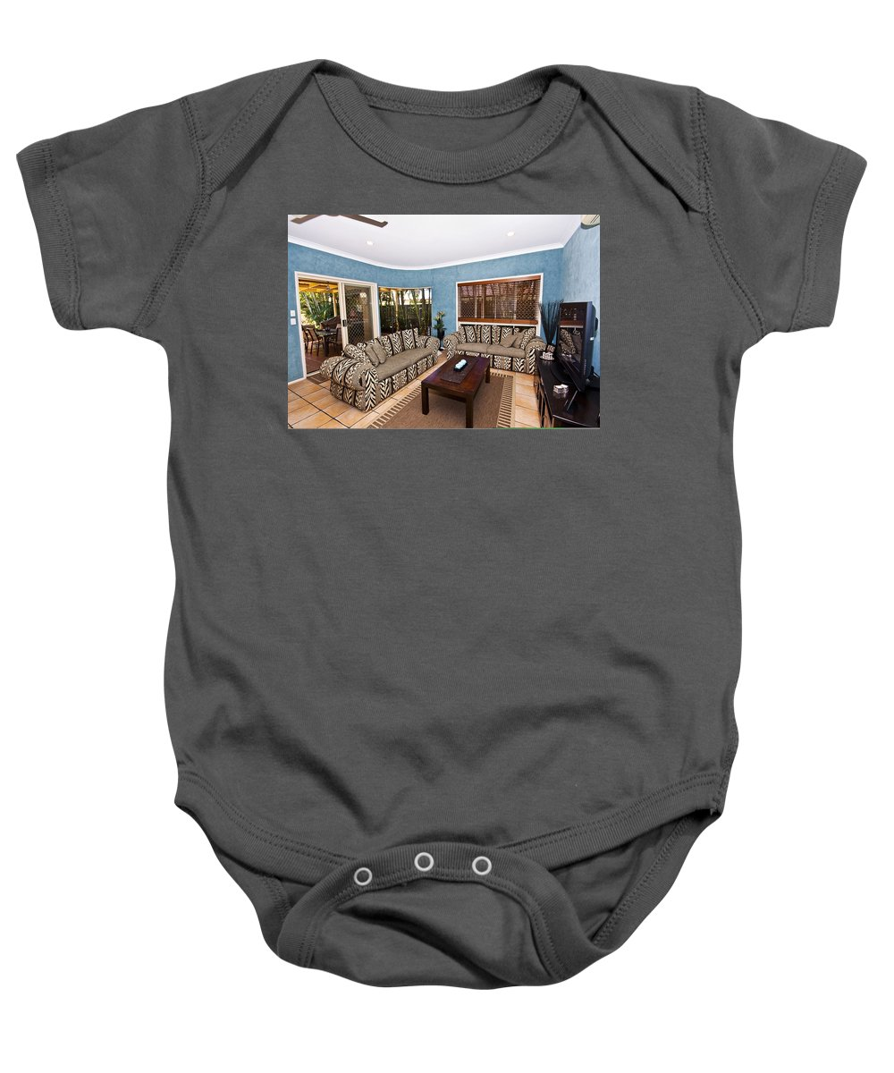 Living Baby Onesie featuring the photograph Blue Living Room by Darren Burton
