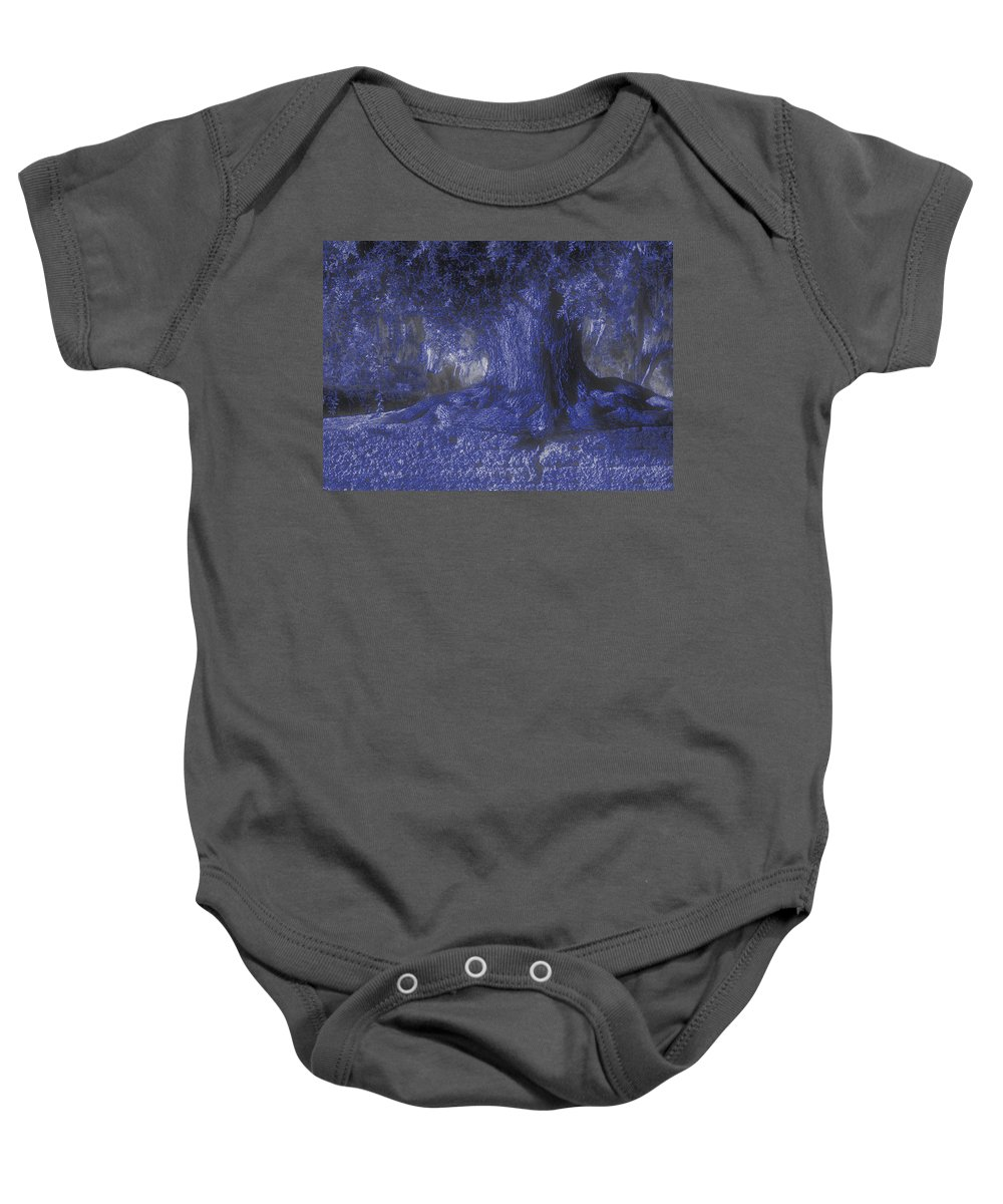 Photo Baby Onesie featuring the photograph Blue Memories by Laura Ragland
