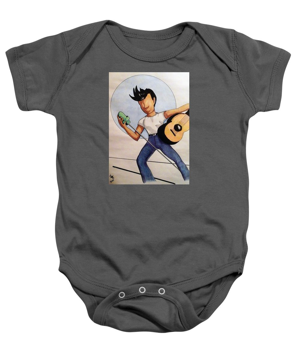 Music Baby Onesie featuring the drawing Blue Moon by Loretta Nash
