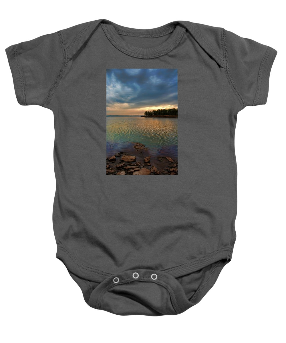 Sunrise Baby Onesie featuring the photograph Blue Morning by Carolyn Fletcher