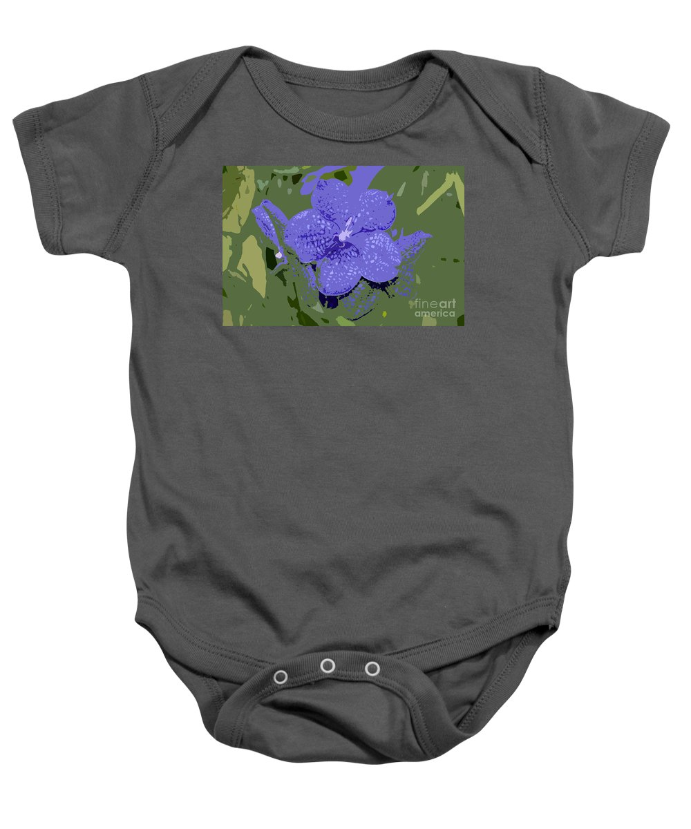 Flower Baby Onesie featuring the photograph Blue On Green Work Number 9 by David Lee Thompson