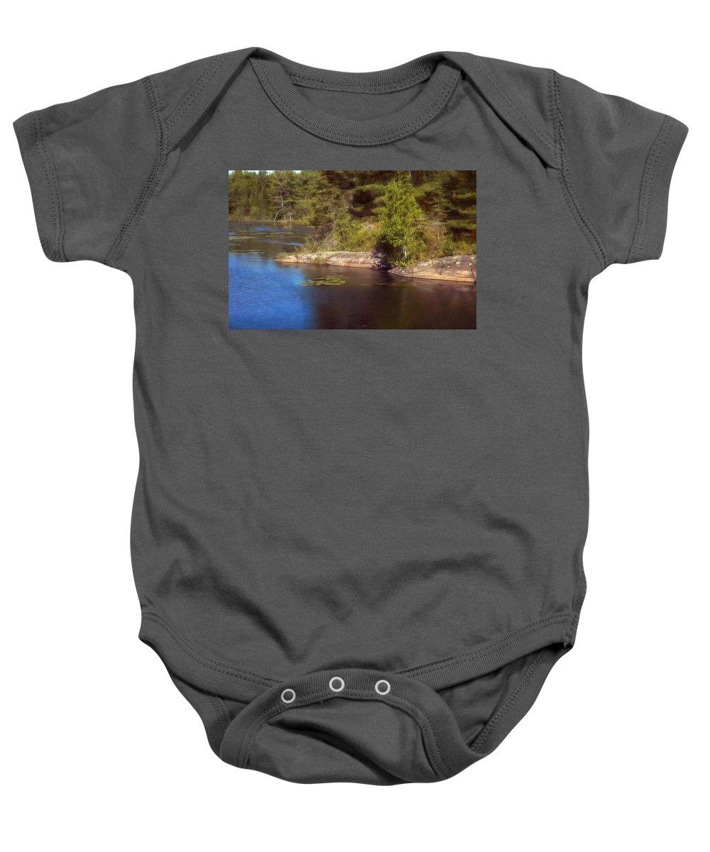 Pond Baby Onesie featuring the digital art Blue Pond Marsh by JGracey Stinson