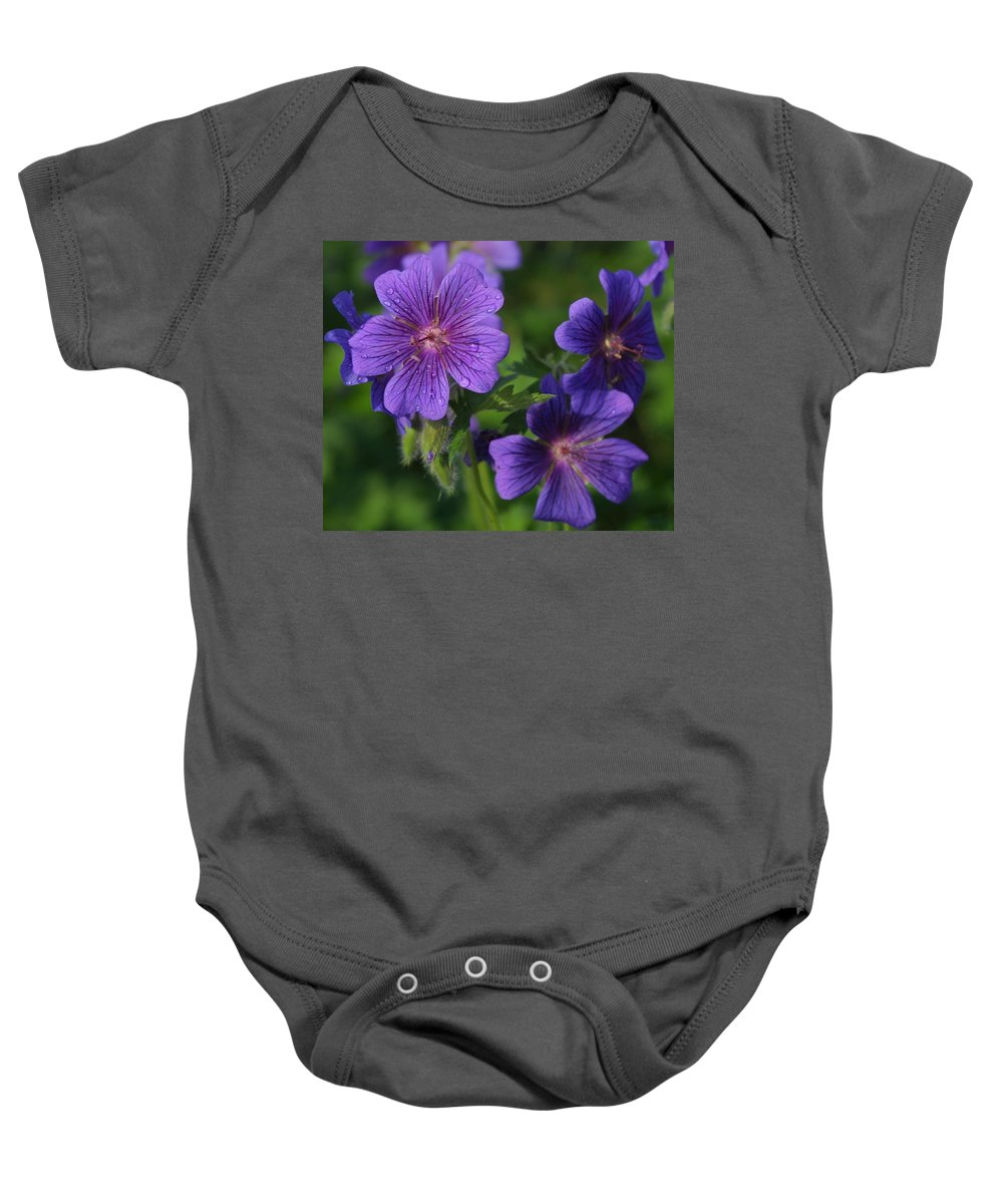 Blue Baby Onesie featuring the photograph Blue Raindrops by Ian MacDonald