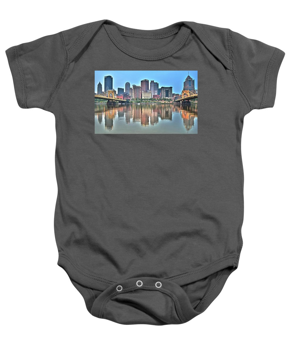 Pittsburgh Baby Onesie featuring the photograph Blue Sky Reflecting Water by Frozen in Time Fine Art Photography