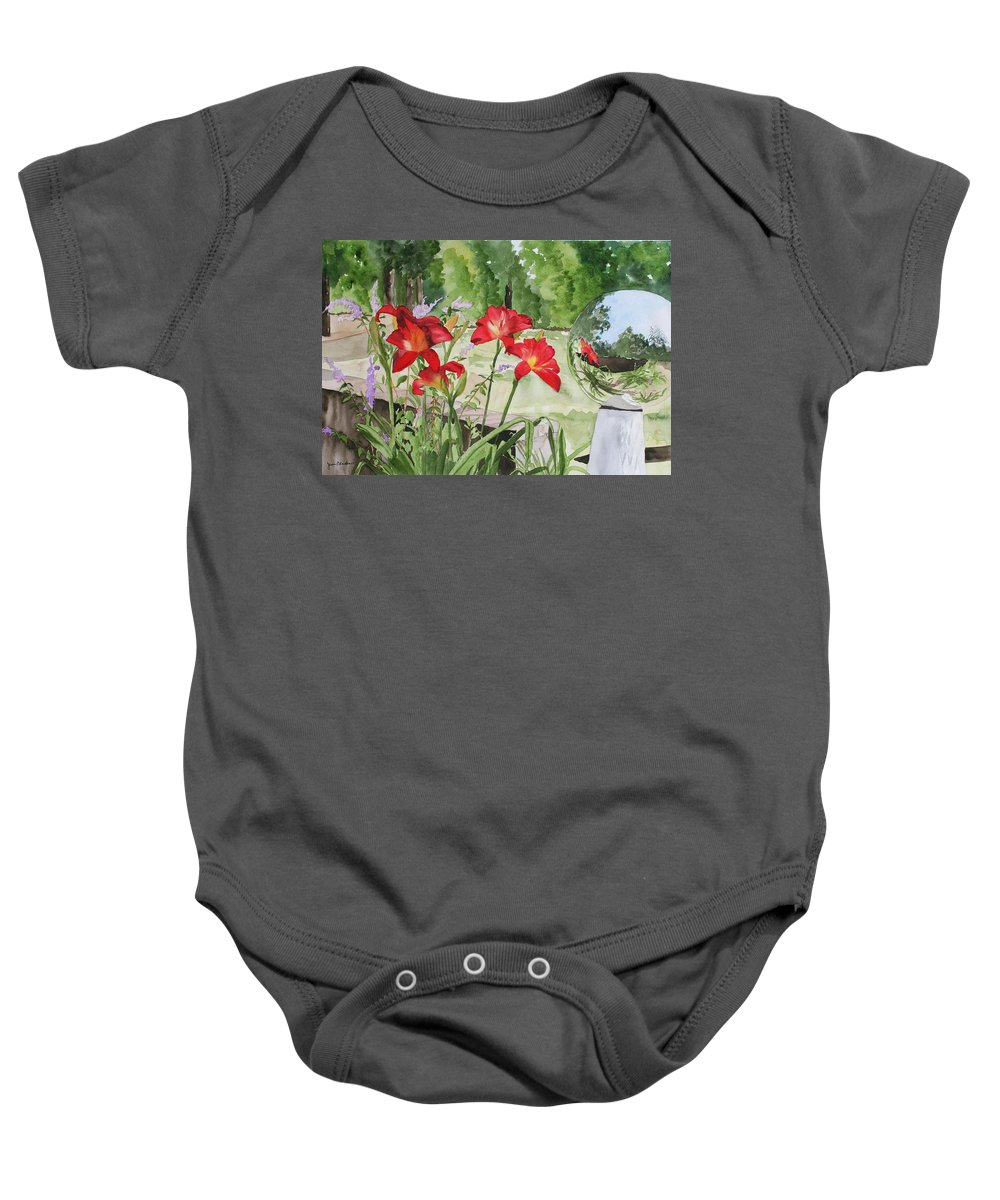 Flowers Baby Onesie featuring the painting Blue Sky Reflections by Jean Blackmer