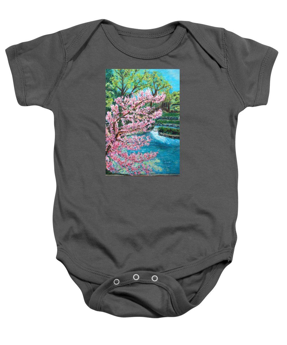 Blue Spring Baby Onesie featuring the painting Blue Spring by Carolyn Donnell