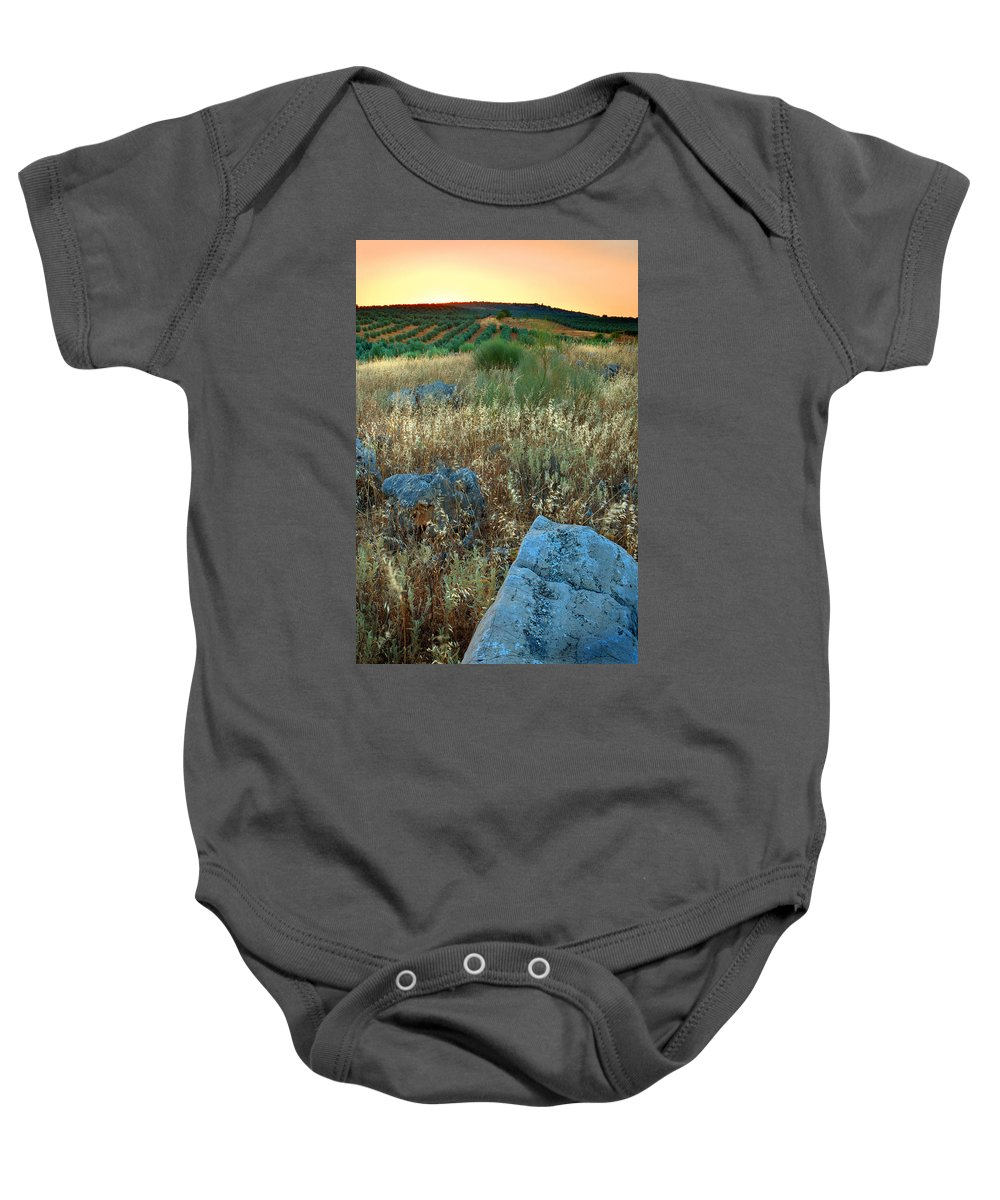 Iznajar Baby Onesie featuring the photograph blue stones amongst the olive groves near Iznajar Andalucia Spain by Mal Bray