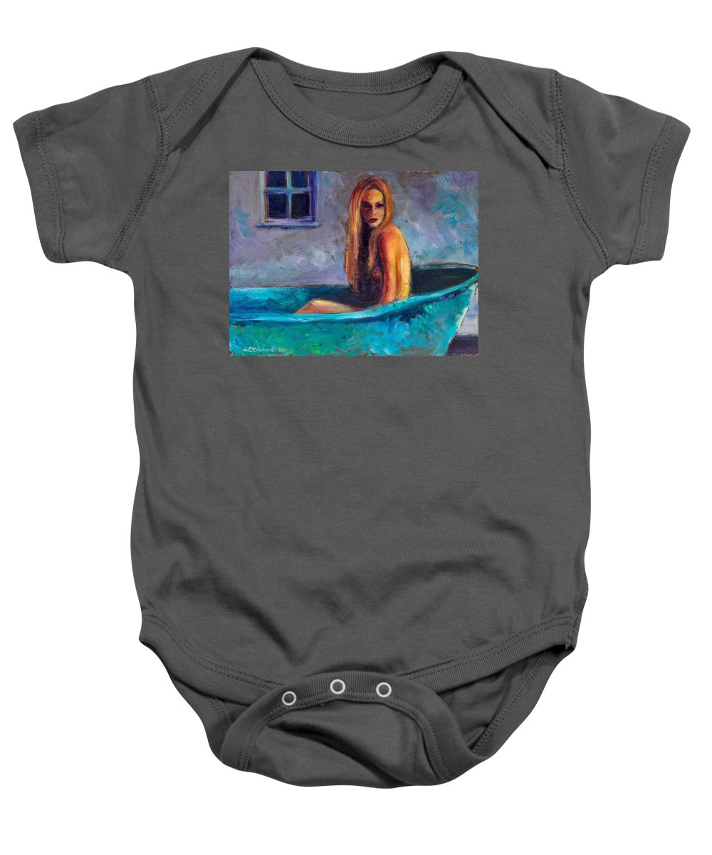 Nude Baby Onesie featuring the painting Blue Tub Study by Jason Reinhardt
