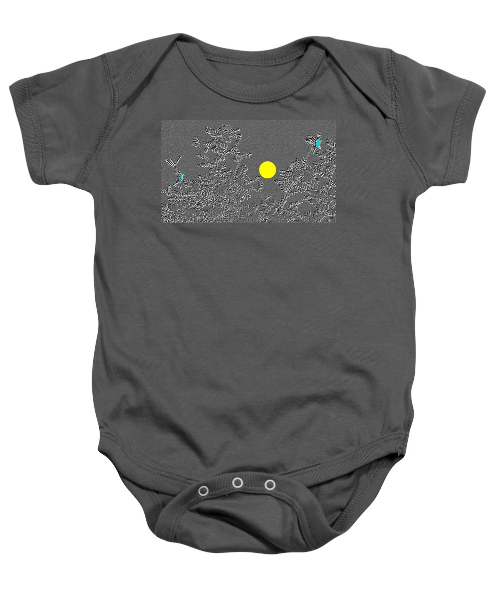 Abstract Baby Onesie featuring the digital art Bluebirds by Will Borden