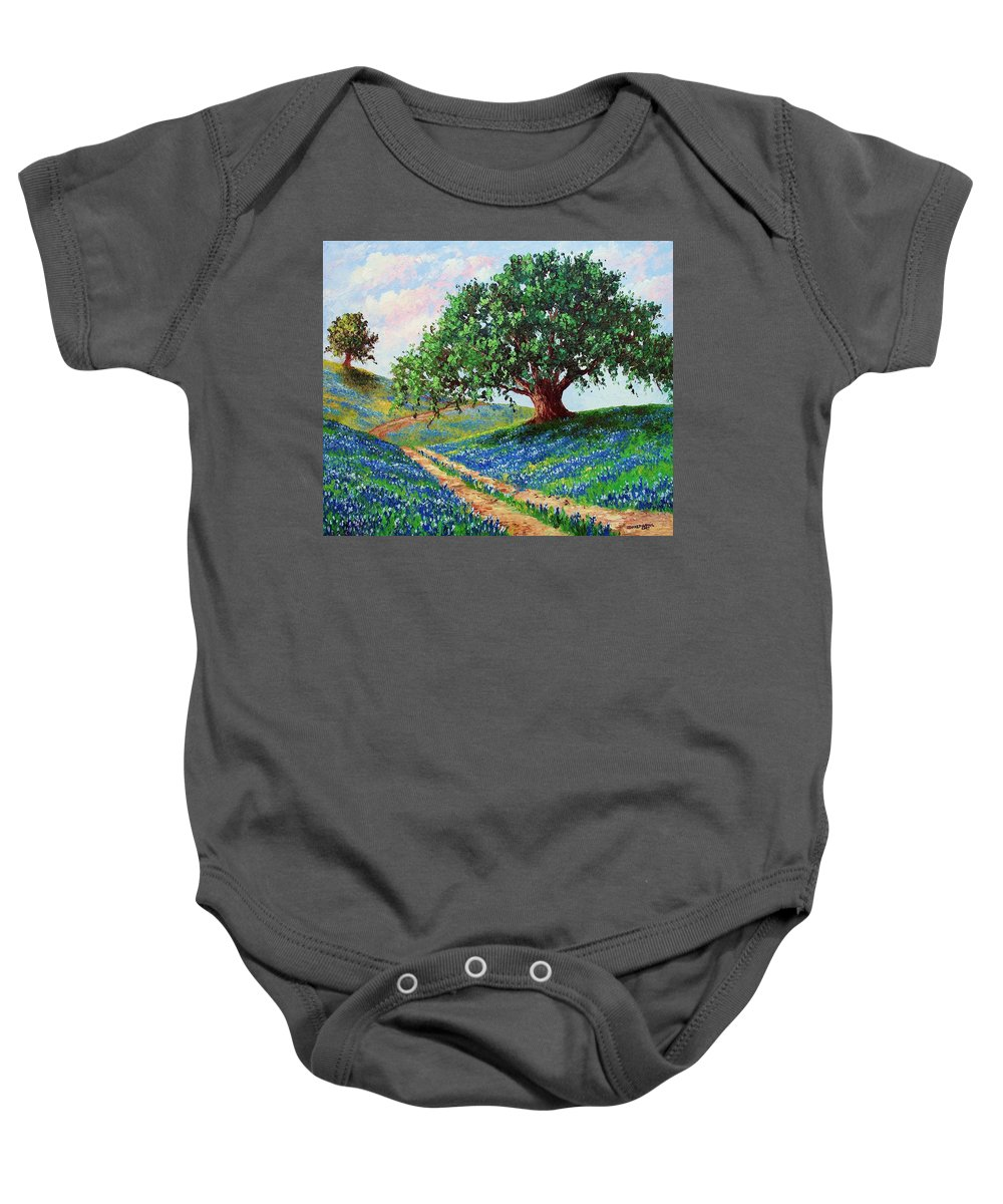 Bluebonnet Baby Onesie featuring the painting Bluebonnet Road by David G Paul