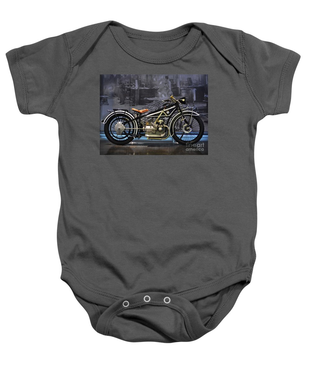 Bmw Baby Onesie featuring the photograph Bmw Vintage Motorcycle by Mary Machare