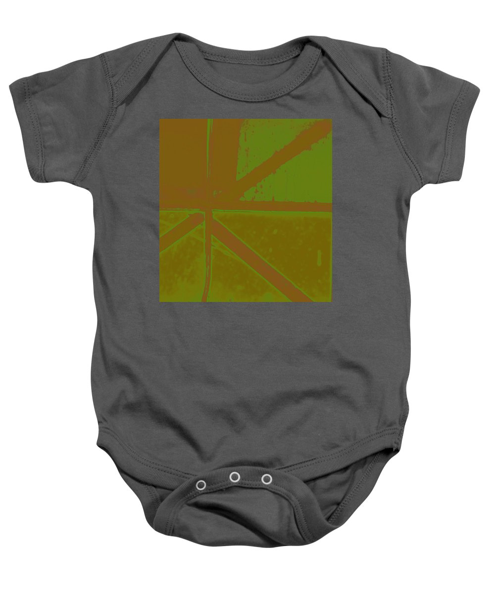 Abstract Baby Onesie featuring the photograph Boarded Window As Foreign Flag by Lenore Senior