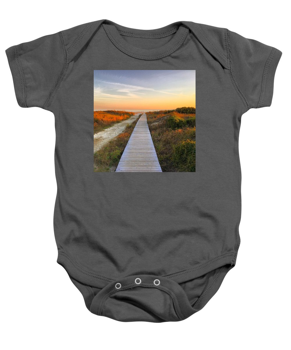 Baby Onesie featuring the photograph Boardwalk by Angela Marie