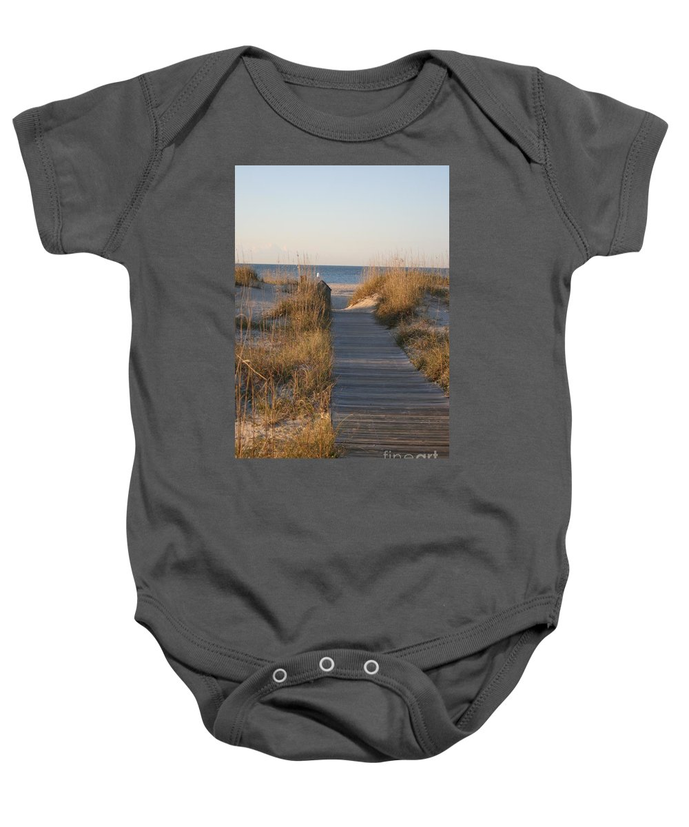 Boardwalk Baby Onesie featuring the photograph Boardwalk To The Beach by Nadine Rippelmeyer