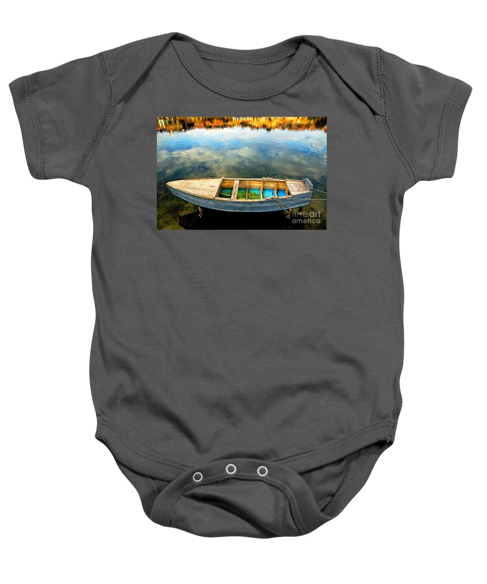 Boat Baby Onesie featuring the photograph Boat On Lake by Silvia Ganora