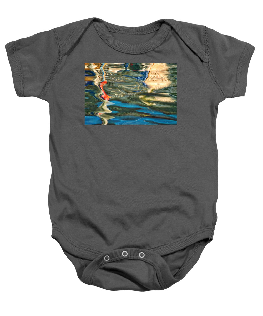 Abstract Baby Onesie featuring the photograph Boat Reflections - Hvar Croatia by Stuart Litoff