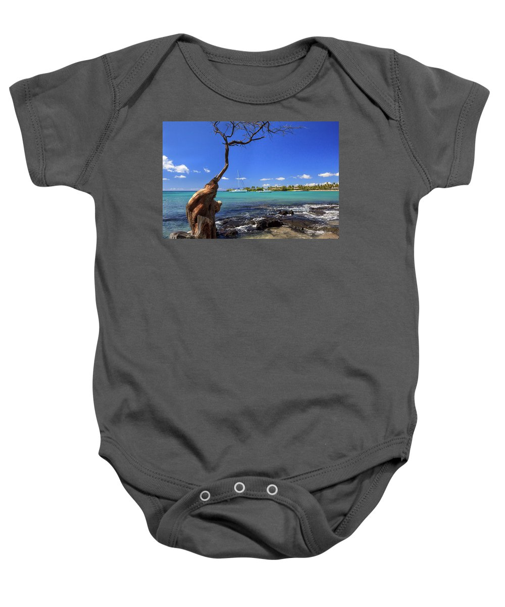 Anaehoomalu Bay Baby Onesie featuring the photograph Boats At Anaehoomalu Bay by James Eddy