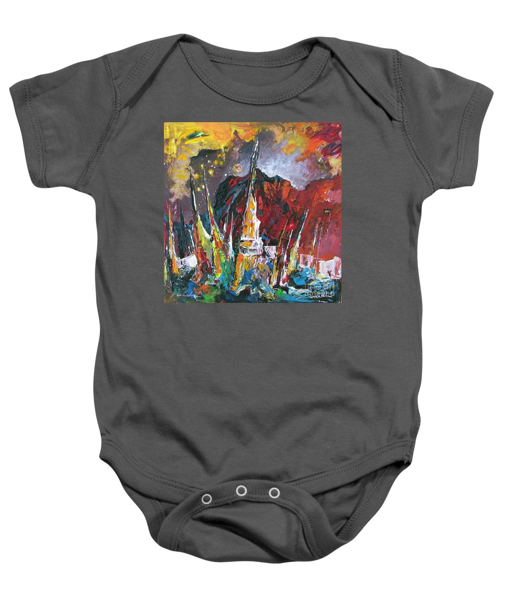 Boats Painting Seacape Spain Acrylics Calpe Costa Blanca Baby Onesie featuring the painting Boats In Calpe 01 Spain by Miki De Goodaboom
