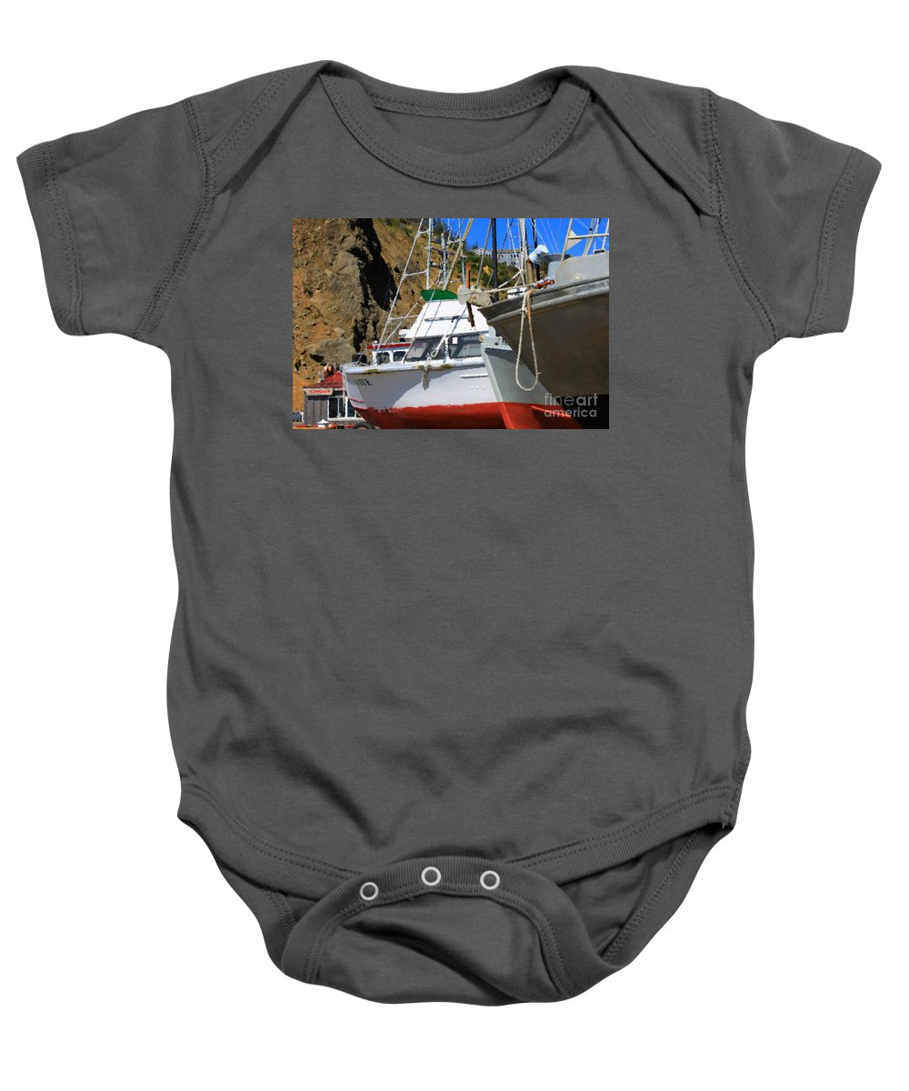Anchor Baby Onesie featuring the photograph Boats In Drydock by James Eddy