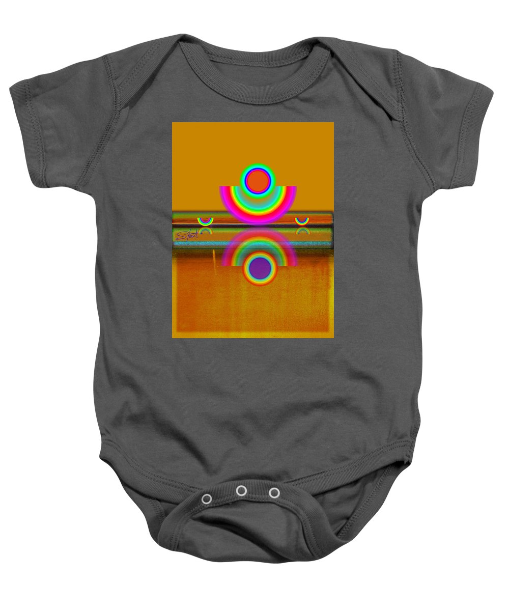 Reflections Baby Onesie featuring the painting Boats In Ochre by Charles Stuart