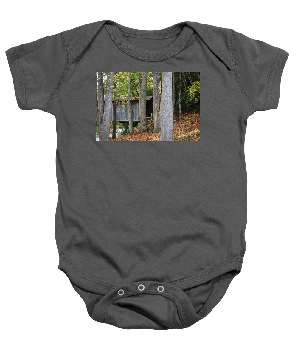 Bridge Baby Onesie featuring the photograph Bob White by Eric Liller