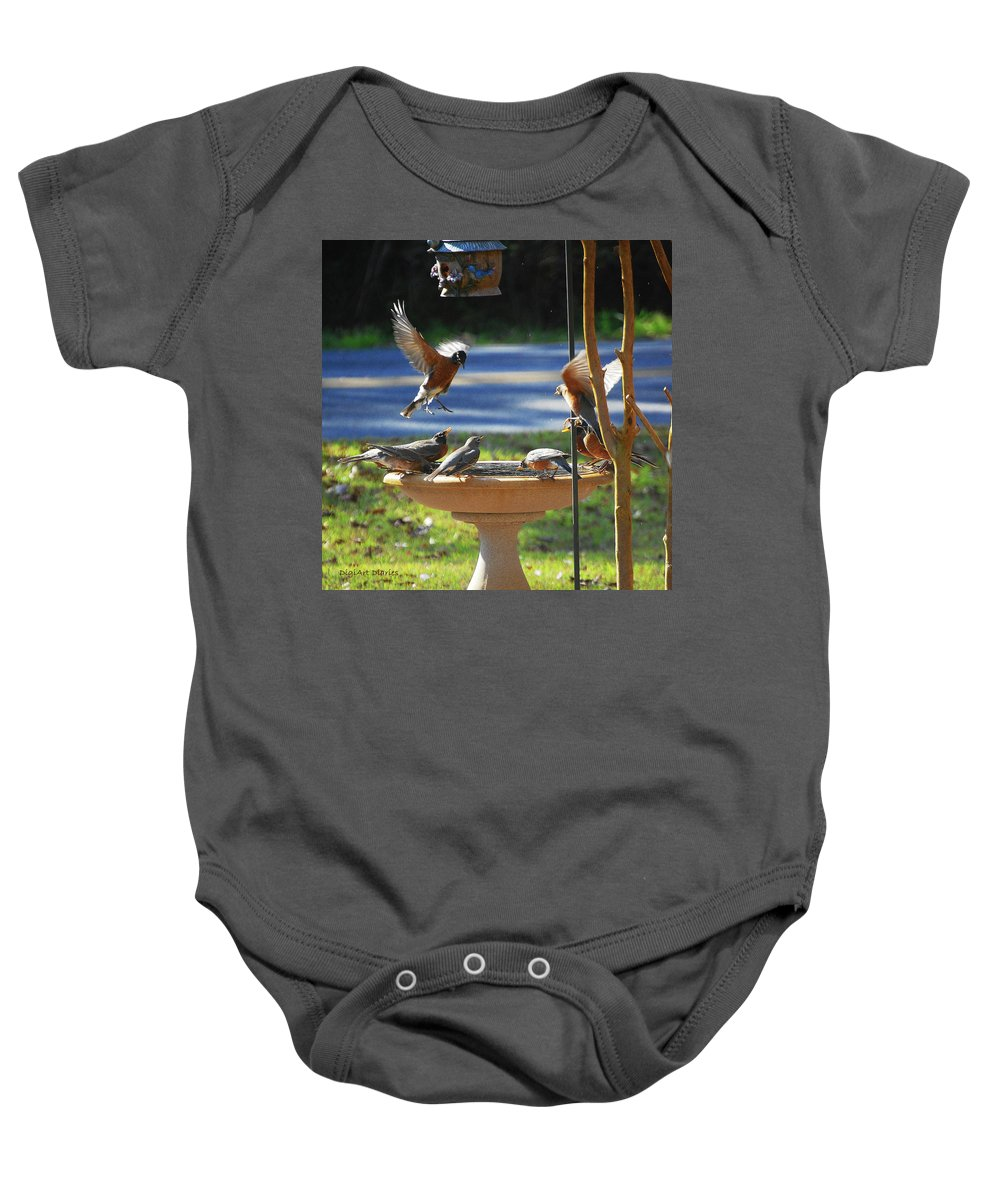 Robins Baby Onesie featuring the digital art Bobbin Robins by DigiArt Diaries by Vicky B Fuller