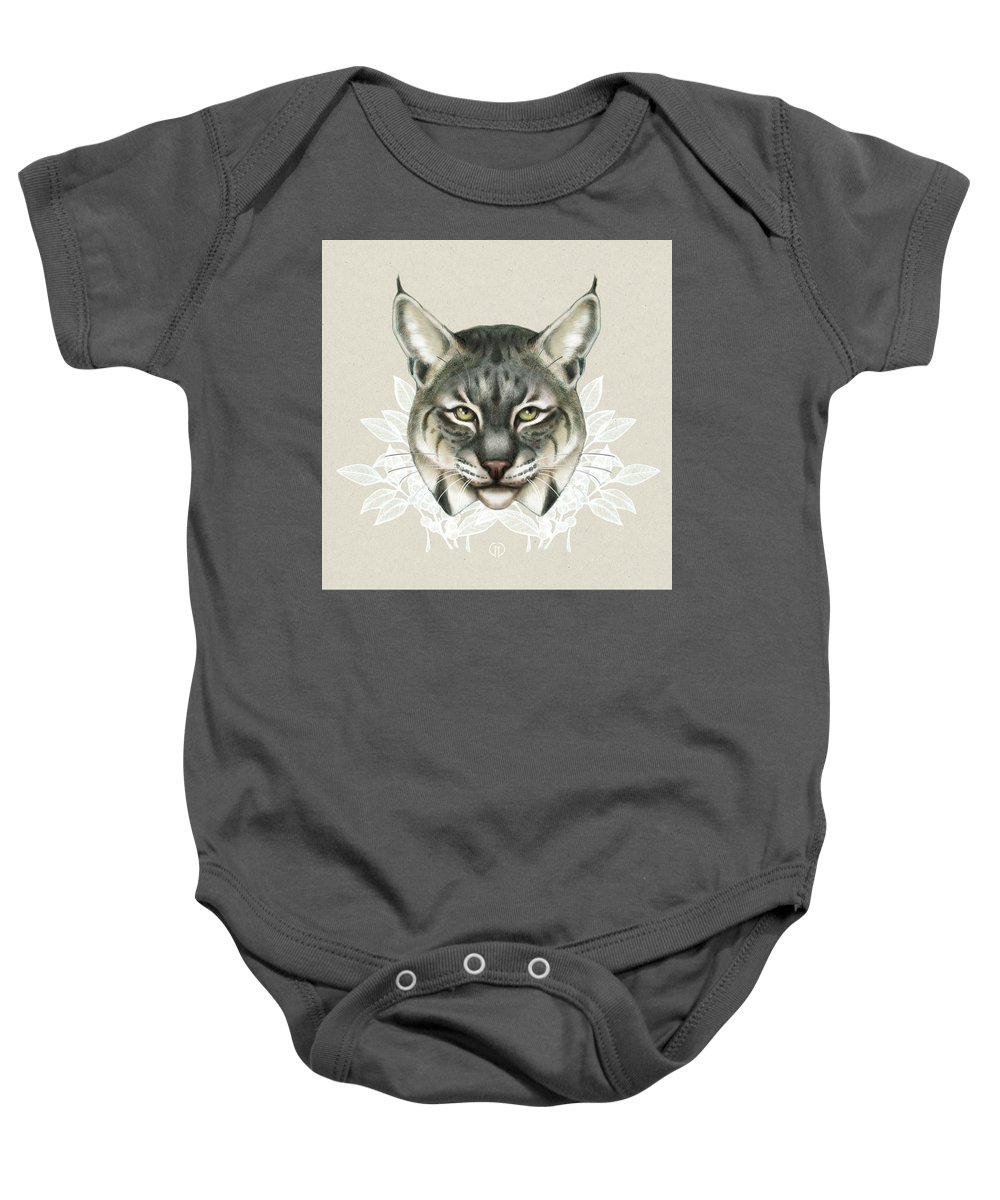 Bobcat Baby Onesie featuring the mixed media Bobcat by Catherine Noel