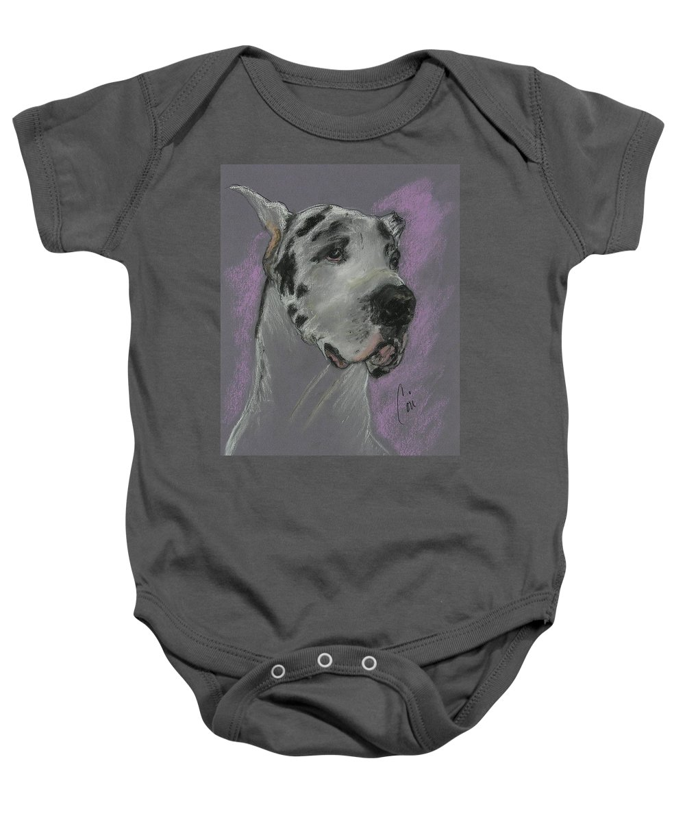 Great Dane Baby Onesie featuring the drawing Bodhi's Mystique by Cori Solomon