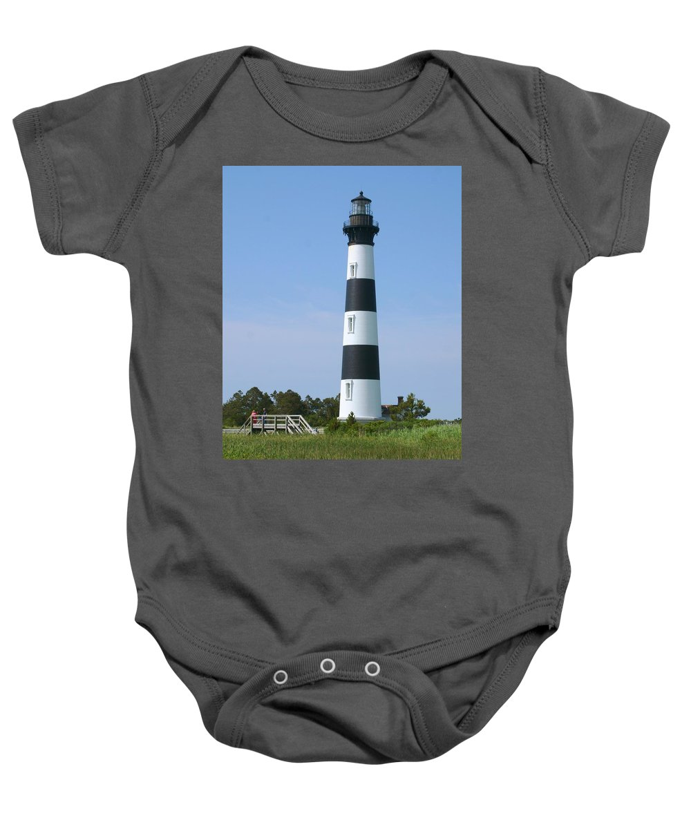 Lighthouse Baby Onesie featuring the photograph Bodie Island Light by Mike Martin