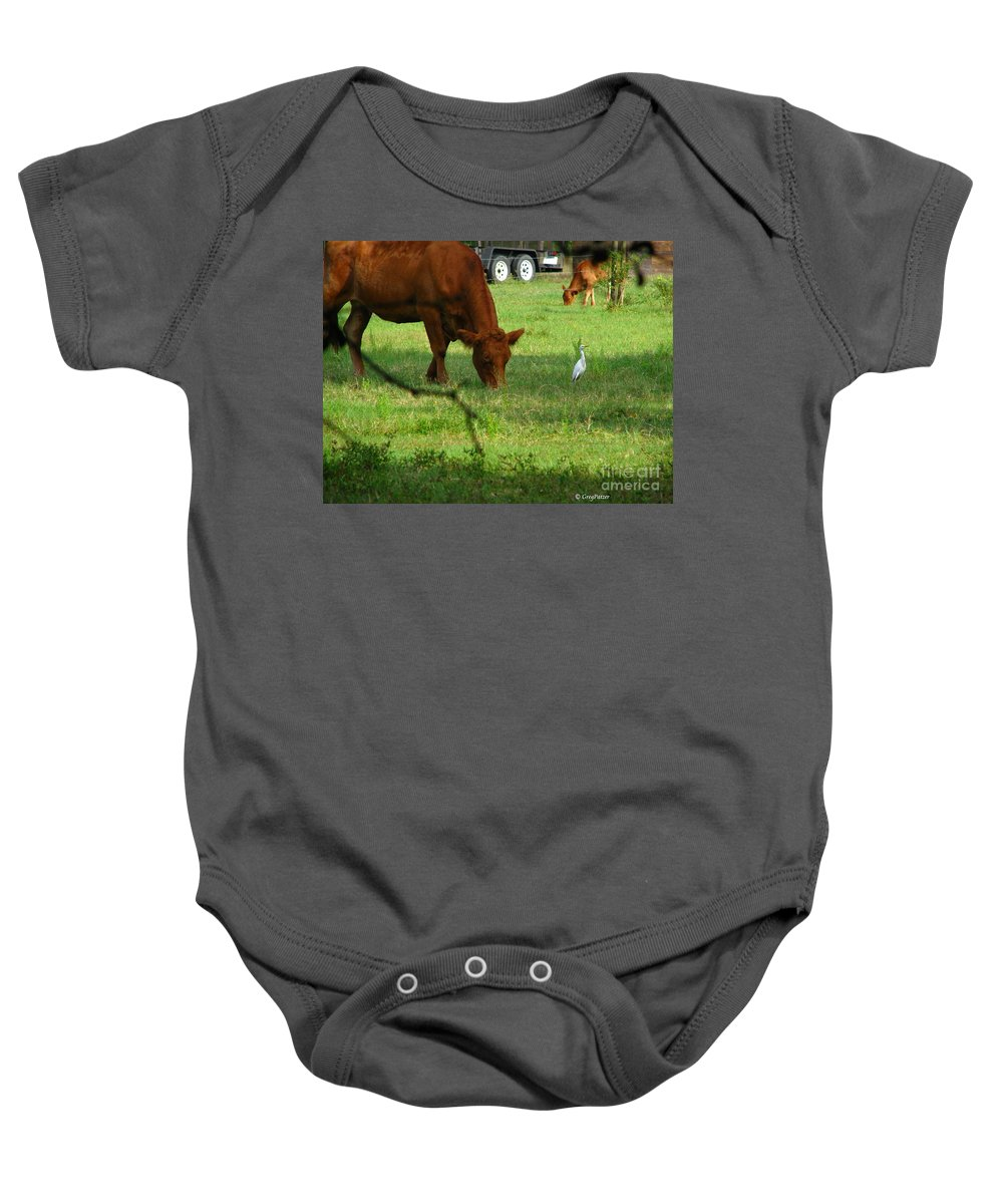 Cows Baby Onesie featuring the photograph Bodyguard by Greg Patzer
