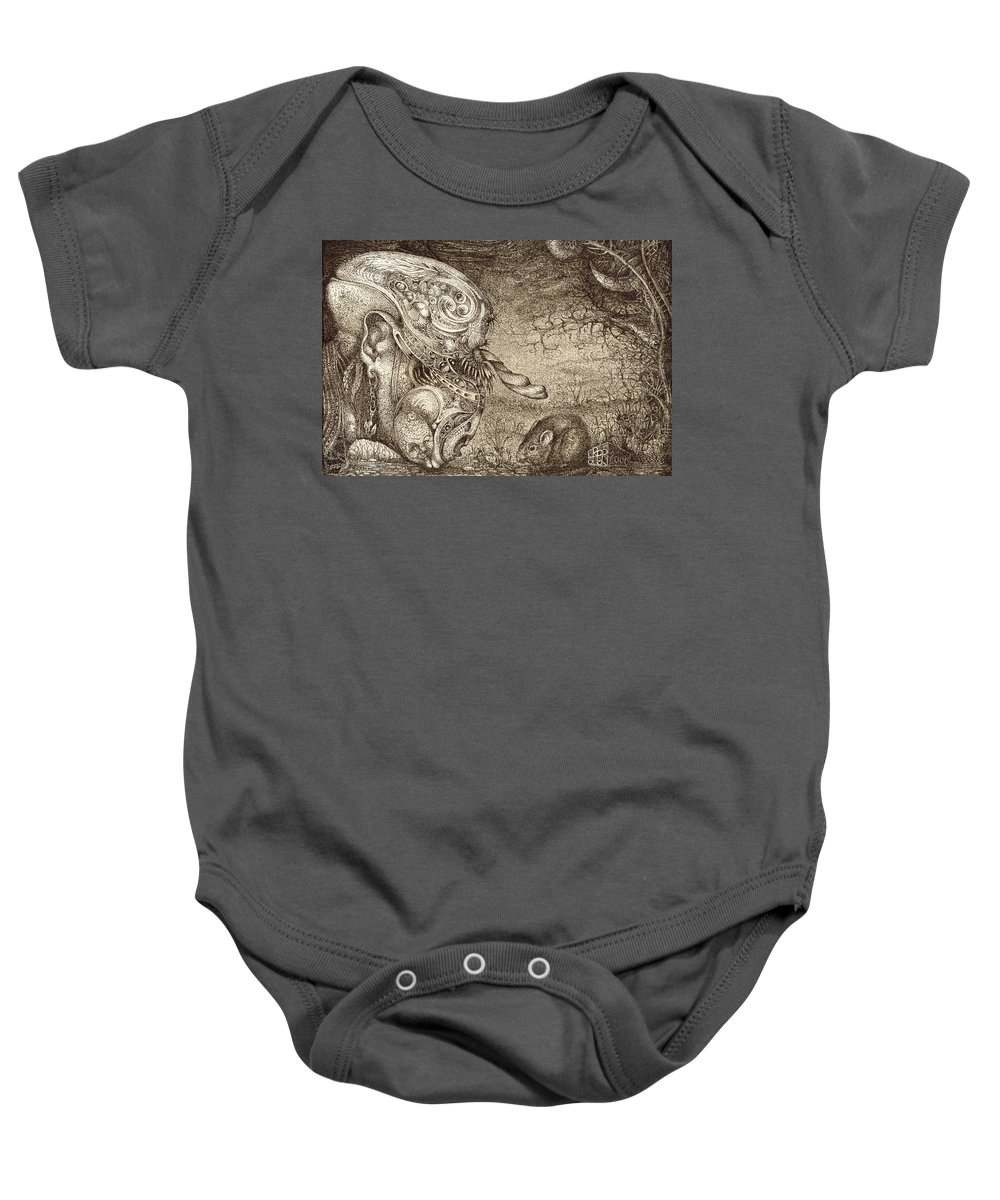 Surreal Baby Onesie featuring the drawing Bogomils Mousetrap by Otto Rapp