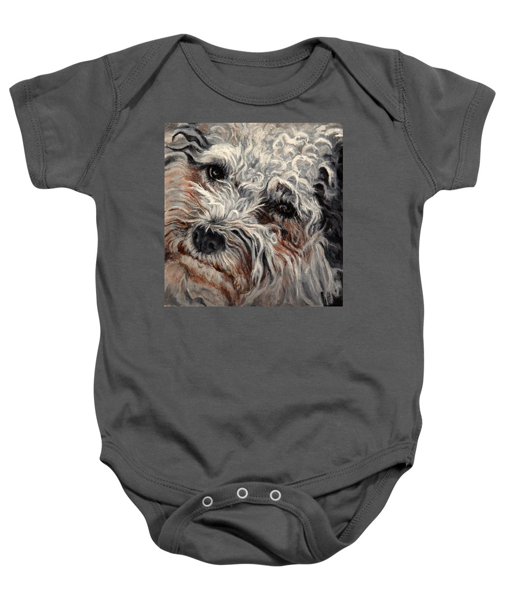 Pets Baby Onesie featuring the painting Bolognese Breed by Portraits By NC