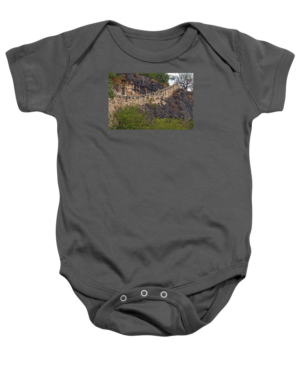 Bonaire Baby Onesie featuring the photograph Bonaire Stairway by June Goggins