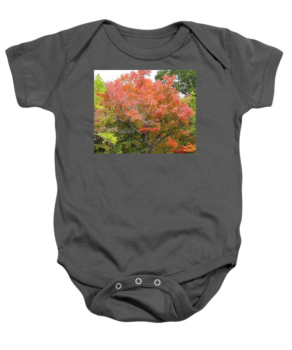 Fall Baby Onesie featuring the photograph Bonfire by Kelly Mezzapelle
