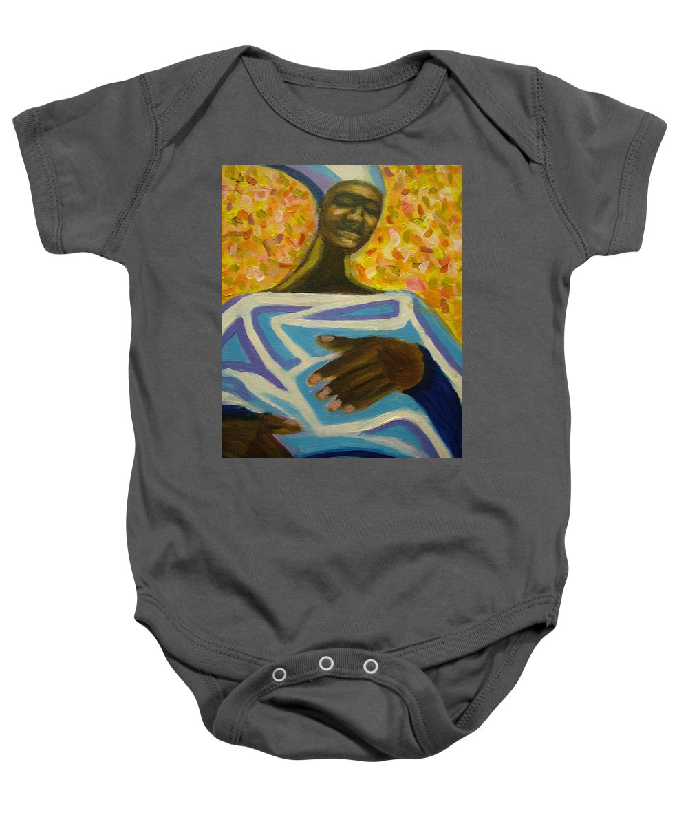 Painting Baby Onesie featuring the painting Bongo Man II by Jan Gilmore