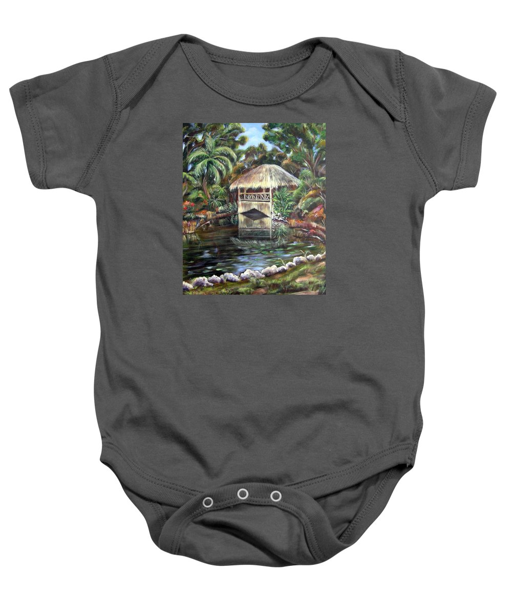 Bonnet House Baby Onesie featuring the painting Bonnet House Chickee by Patricia Piffath