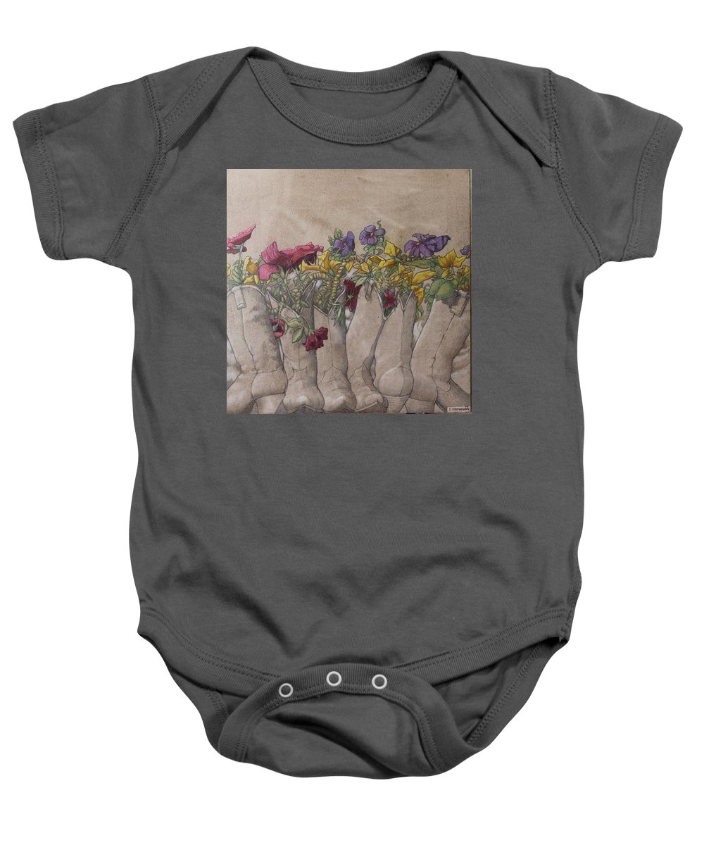 Acrylic Baby Onesie featuring the painting Boots And Flowers by Dan Stephanian