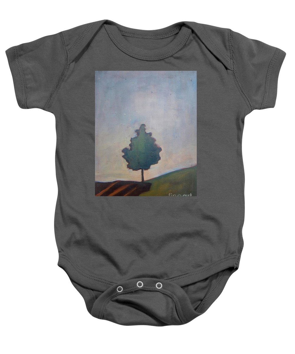 Tree Baby Onesie featuring the painting Bordering Tree by Vesna Antic