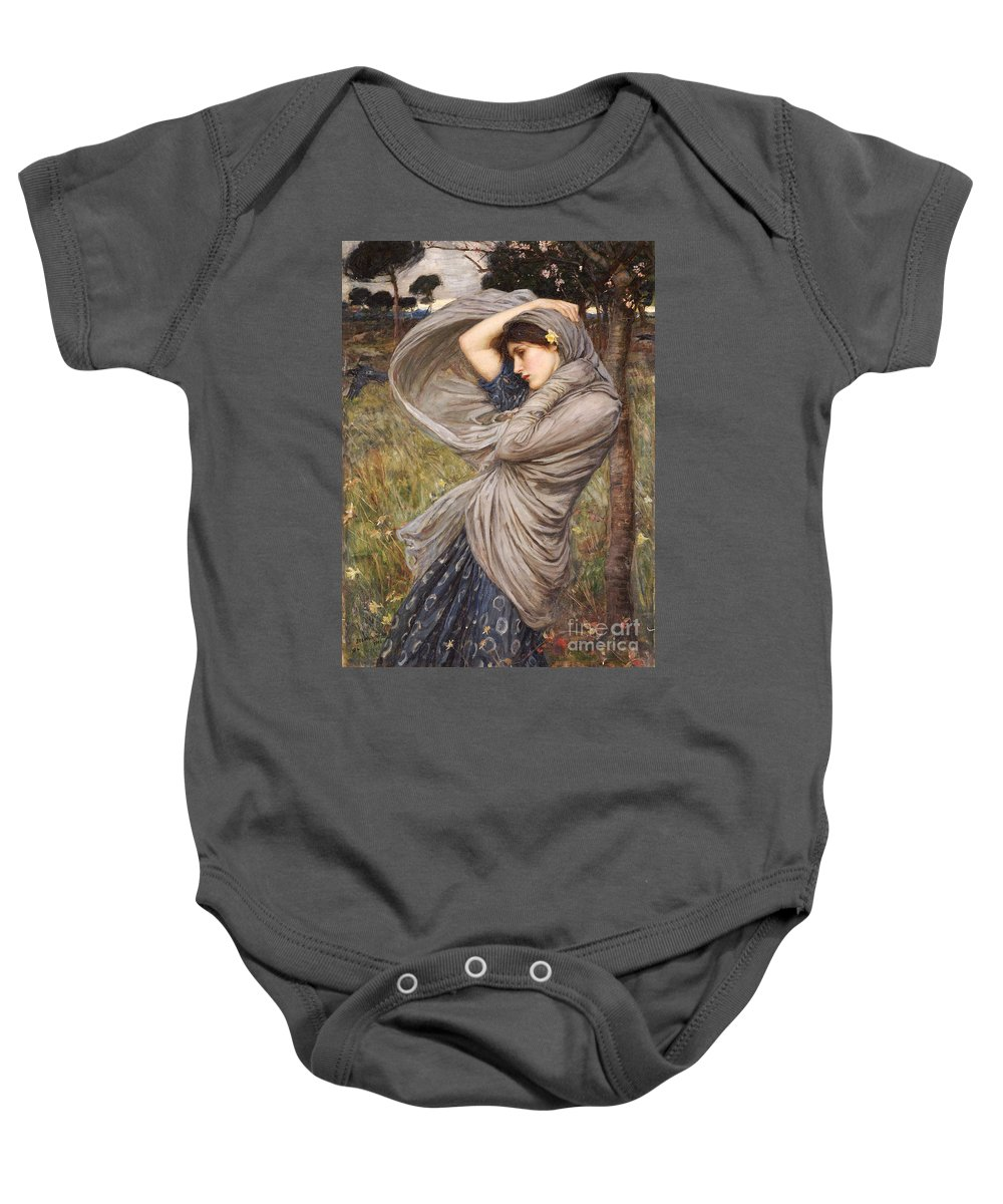 Boreas Baby Onesie featuring the painting Boreas by John William Waterhouse