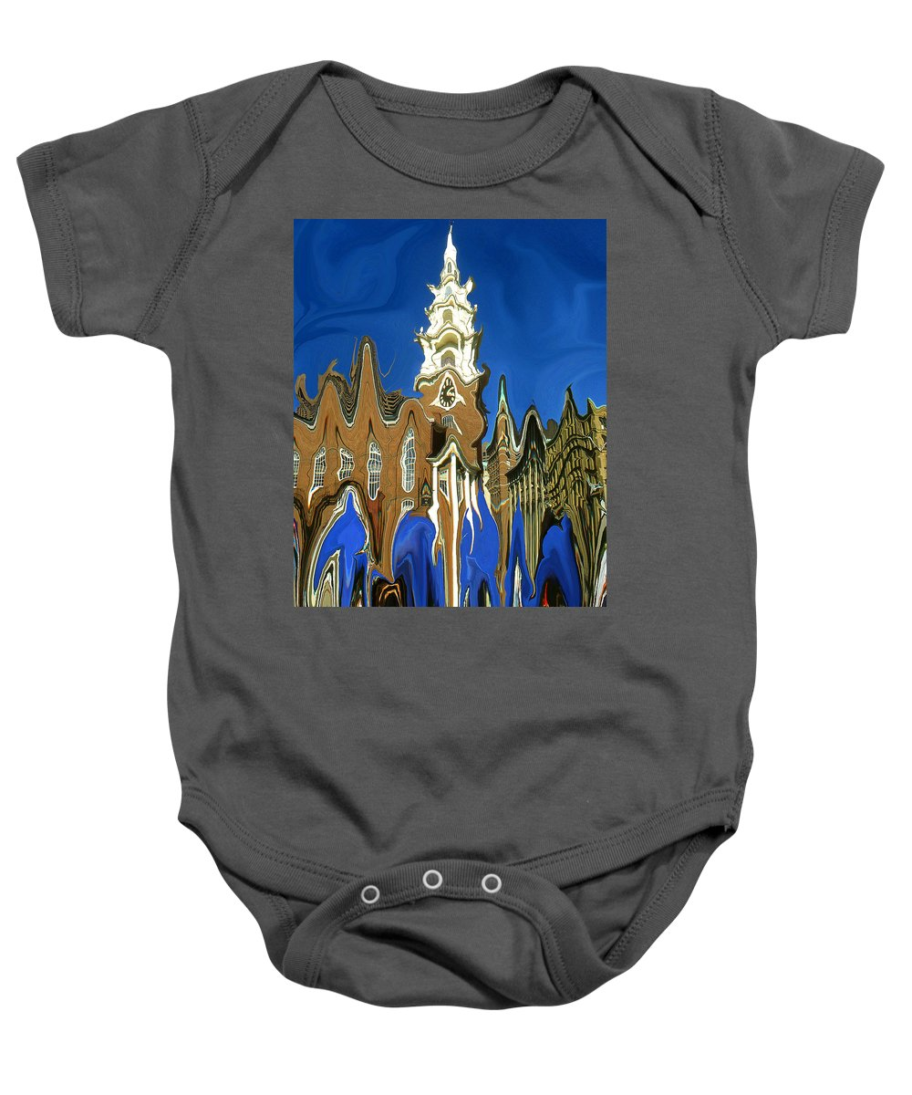 Boston Baby Onesie featuring the painting Boston Blue - Modern Art by Peter Potter