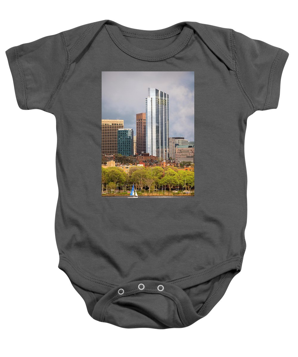 Boston Baby Onesie featuring the photograph Boston Skyline Skyscraper Boston Ma Charles River by Toby McGuire