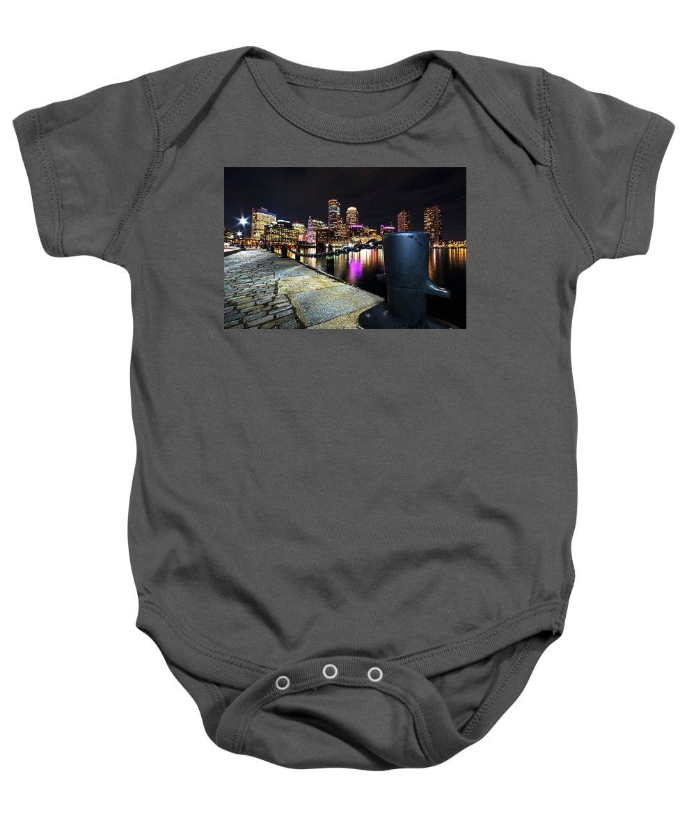 Boston Baby Onesie featuring the photograph Boston Waterfront Skyline View Boston Ma by Toby McGuire