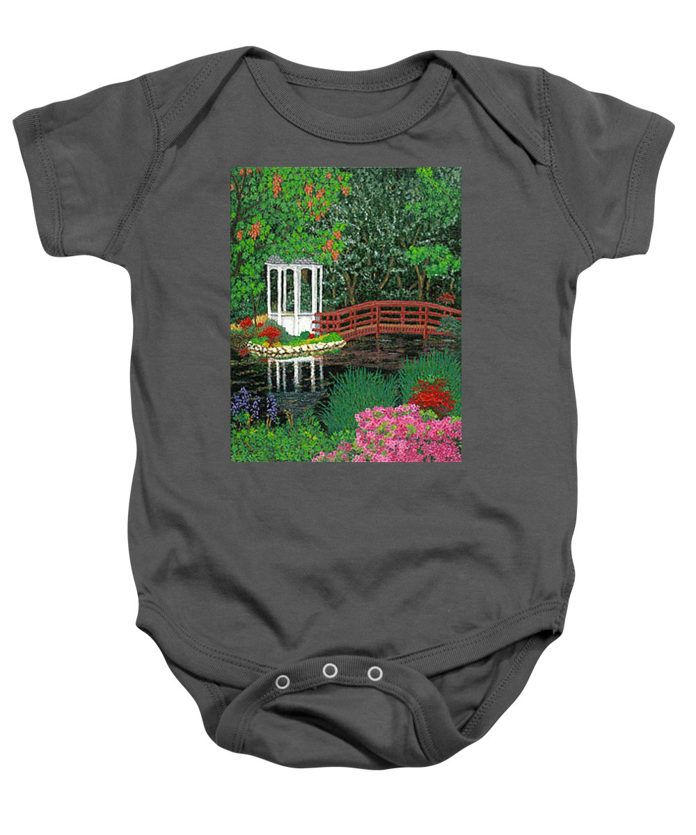 Art Baby Onesie featuring the painting Botanical Garden Park Walk Pink Azaleas Bridge Gazebo Flowering Trees Pond by Baslee Troutman