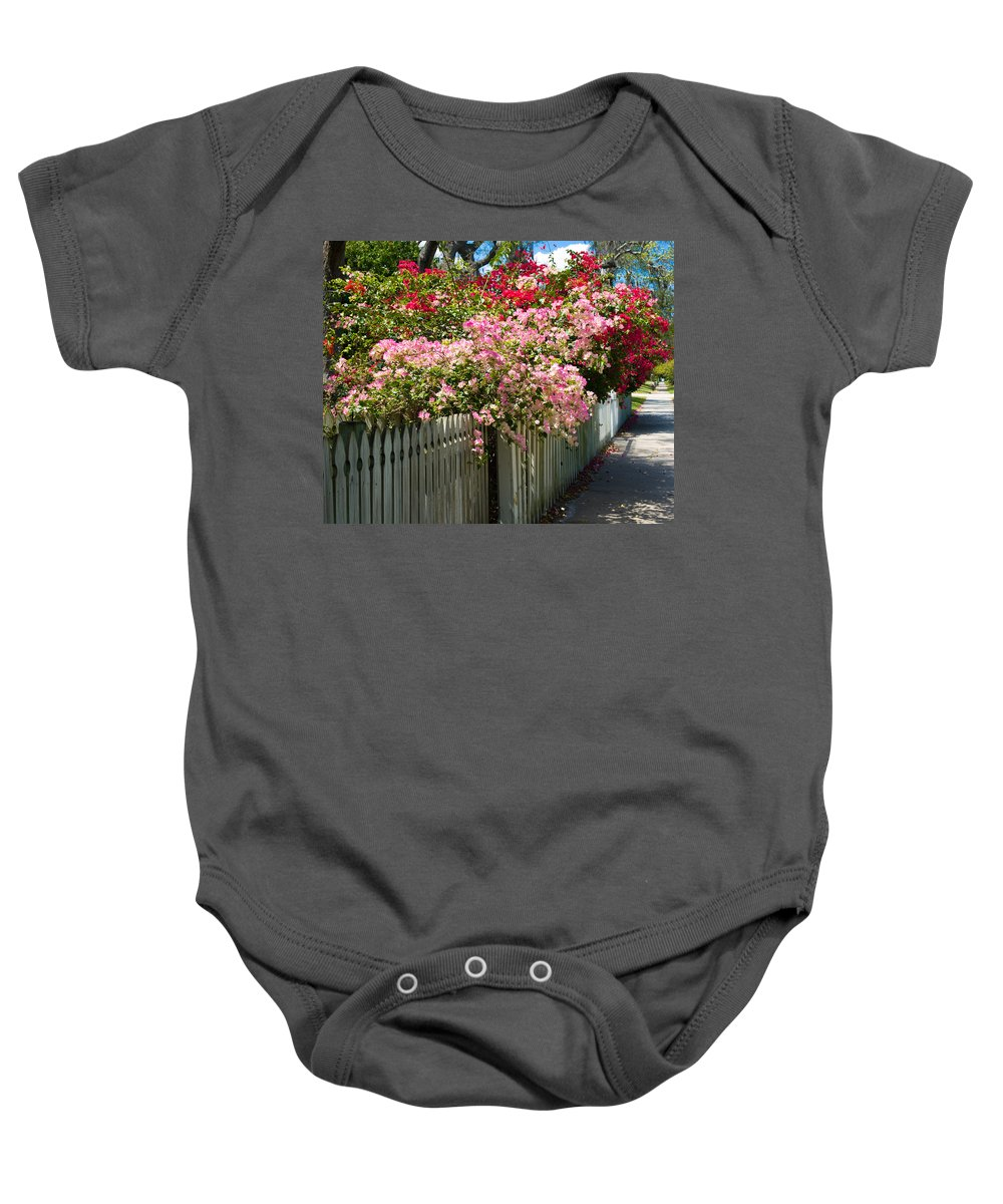 Nyctaginaceae; Bougainvillea; Flower; Flowers; Flowering; Bloom; Bloomimg; Blossom; Blossoming; Red; Baby Onesie featuring the photograph Bougainvillea In Old Eau Gallie Florida by Allan Hughes