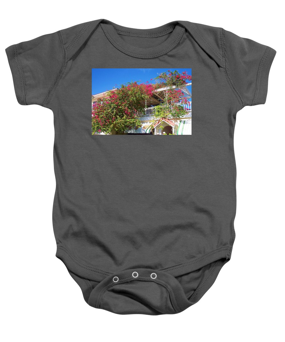 Flowers Baby Onesie featuring the photograph Bougainvillea Villa by Debbi Granruth